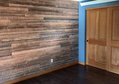 Master bedroom old barnwood wall