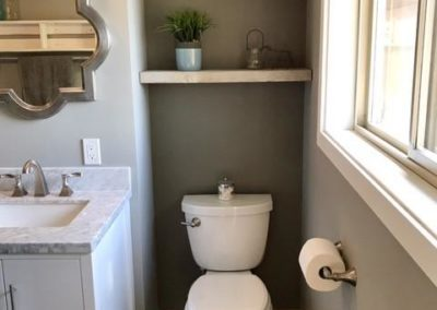 Potty with vanity and shelves
